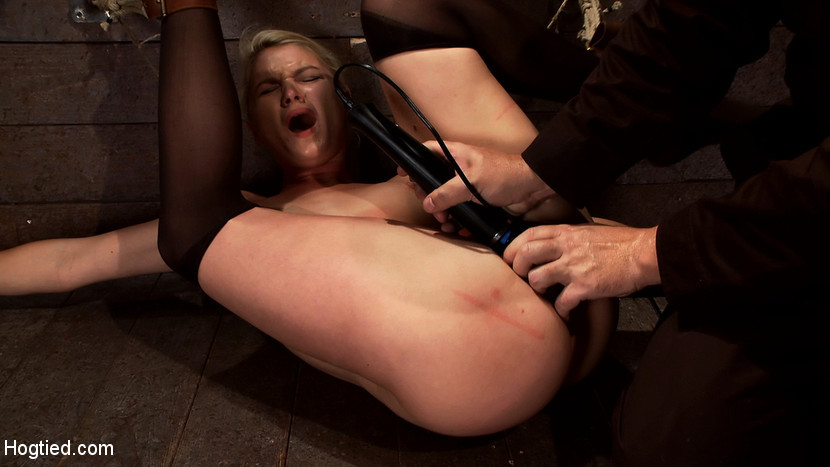 BestBDSM24.com - Image 12597 - Shy sexy blond girl is trapped, bound, humiliatedLong legs spread wide, made to cum like a whore