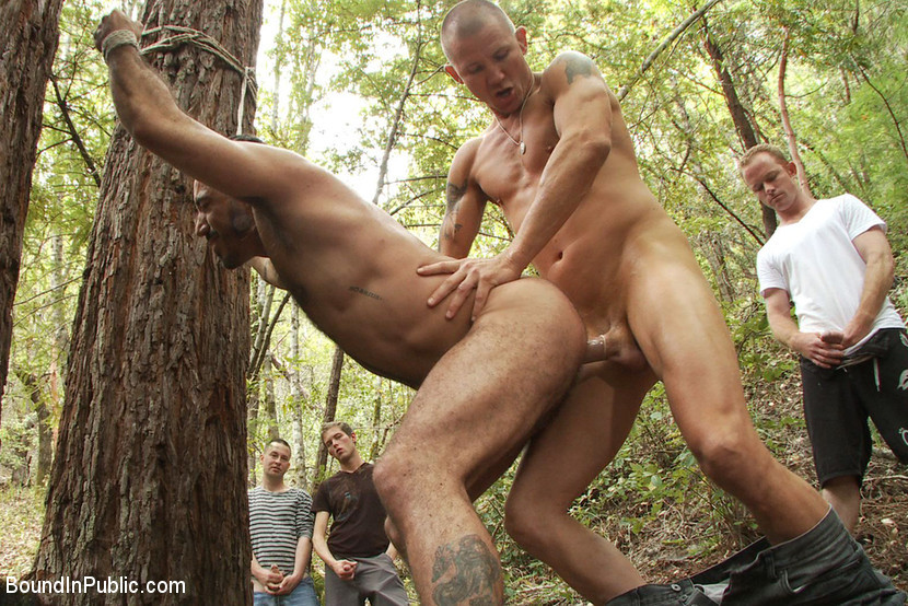 BestBDSM24.com - Image 13124 - Horny men jump on a beefy jock and turn him into a sex slave at a campground.