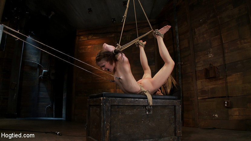 BestBDSM24.com - Image 13935 - Severely bound into a brutal hogtie and pulled to the breaking pointMade to cum over and over!
