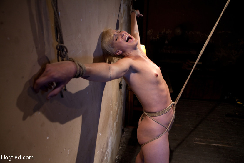 BestBDSM24.com - Image 14352 - Tall hot blonde on tip-toes hanging from a crotch rope, made to squirt.