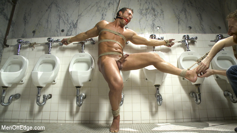 BestBDSM24.com - Image 37893 - College jock gets a crash course in edging while bound to the urinals